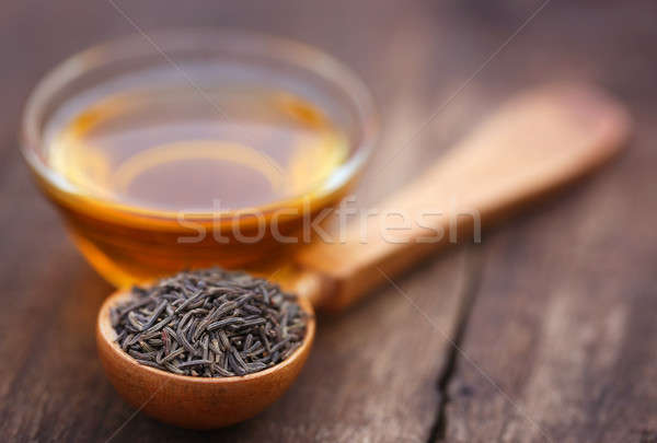Karwij zaden glas kom olie Stockfoto © bdspn