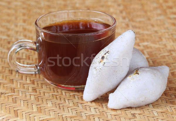 Feito à mão culinária indiana arroz farinha copo chá Foto stock © bdspn