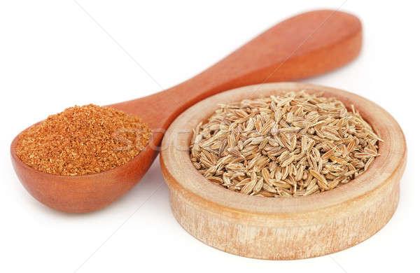 Kimyon bütün arka plan pişirme kaşık tohum Stok fotoğraf © bdspn