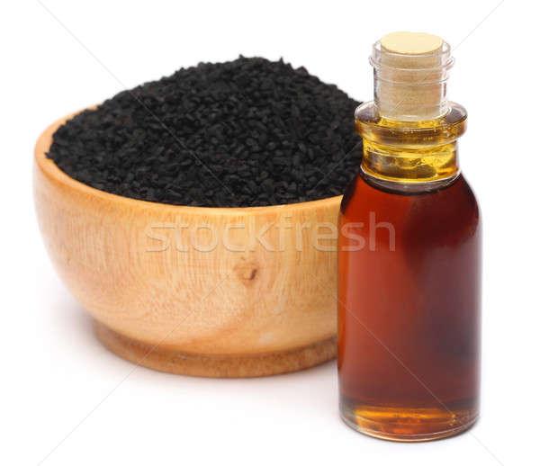 Fekete kömény illóolaj fehér egészség gyógyszer Stock fotó © bdspn