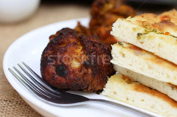 Garlic nan with grilled chiken Stock photo © bdspn
