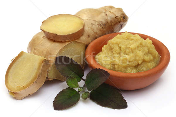 Fresh crushed ginger with holy basil  Stock photo © bdspn