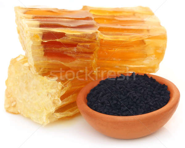 Honing zwarte komijn aardewerk witte natuur Stockfoto © bdspn