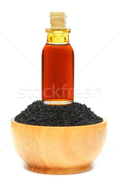 Zwarte komijn witte voedsel fles Stockfoto © bdspn