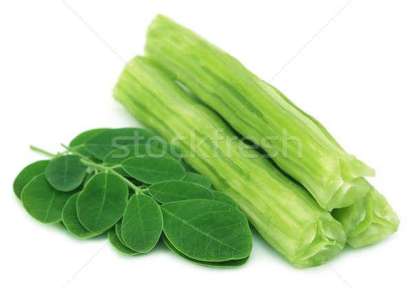 Ehető zöld levelek fehér étel levelek zöldség Stock fotó © bdspn