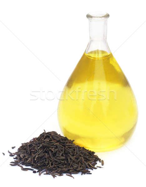 Karwij zaden glas jar olie Stockfoto © bdspn
