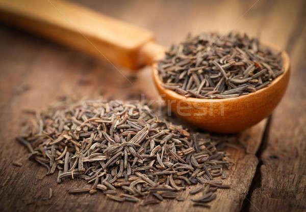 Kümmel Samen Löffel Holz Oberfläche natürlichen Stock foto © bdspn