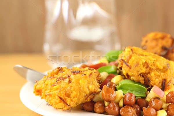 Fresh chickpeas on a plate with peaju Stock photo © bdspn