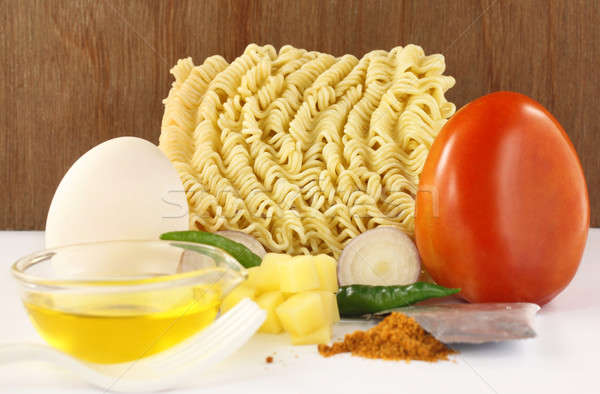 Noodles with cooking items Stock photo © bdspn
