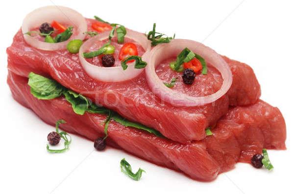 Rindfleisch Gewürze weiß Hintergrund Fett Stock foto © bdspn