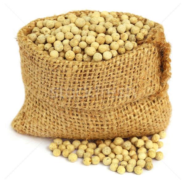 White peppercorns in sack Stock photo © bdspn
