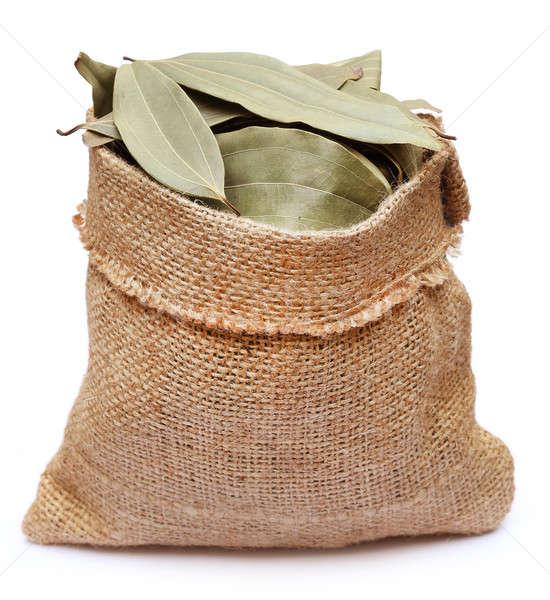 Bay leaves in sack bag Stock photo © bdspn