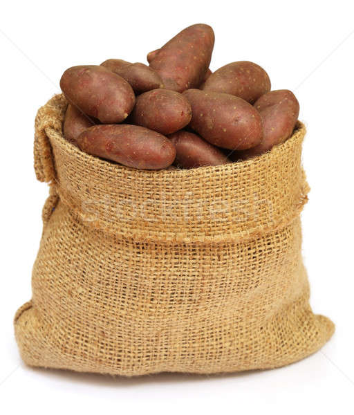 Potatoes in a sack bag over white background Stock photo © bdspn