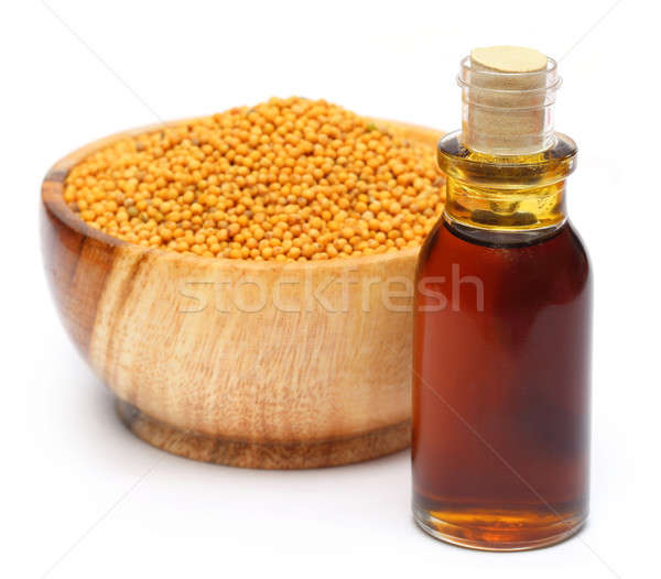 Stockfoto: Vers · gouden · mosterd · houten · pot · olie