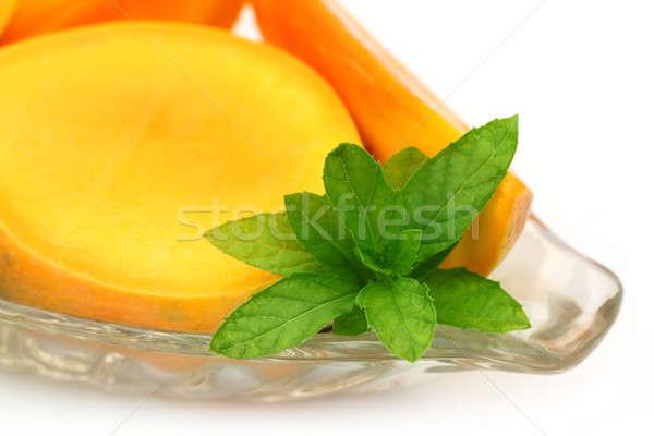 Fresh sliced Mango with mint Stock photo © bdspn