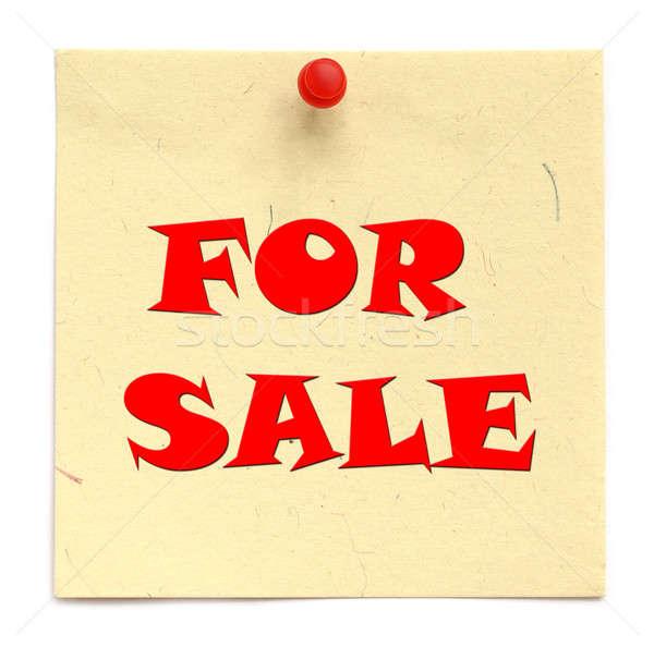 Napisany sprzedaży biały papieru tle Zdjęcia stock © bdspn