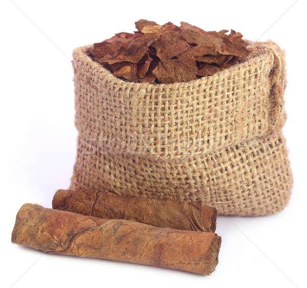 высушите табак листьев мешок белый лист Сток-фото © bdspn