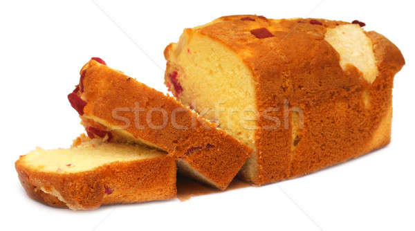 Groot fruitcake witte voedsel brood room Stockfoto © bdspn