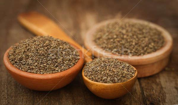 Foto stock: Semillas · tazón · cuchara · de · madera · cuchara · hierbas · semillas