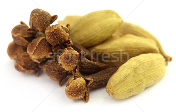 Cardamom seeds with cloves Stock photo © bdspn