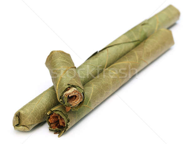 Cygara Myanmar biały liści dymu kultury Zdjęcia stock © bdspn