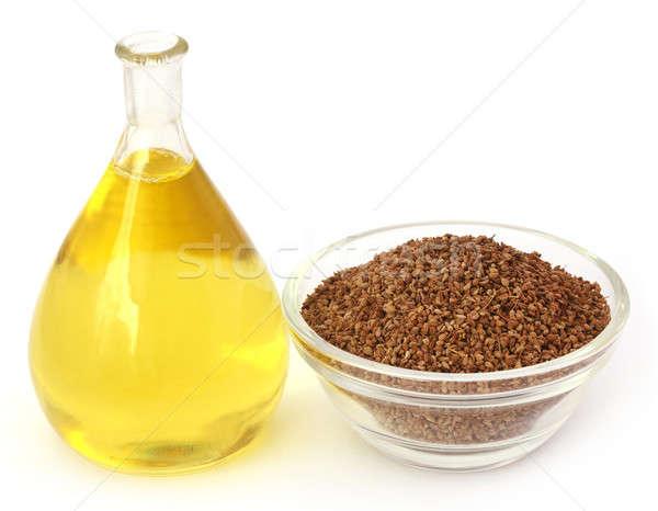 Semences verre bol blanche pétrolières Photo stock © bdspn