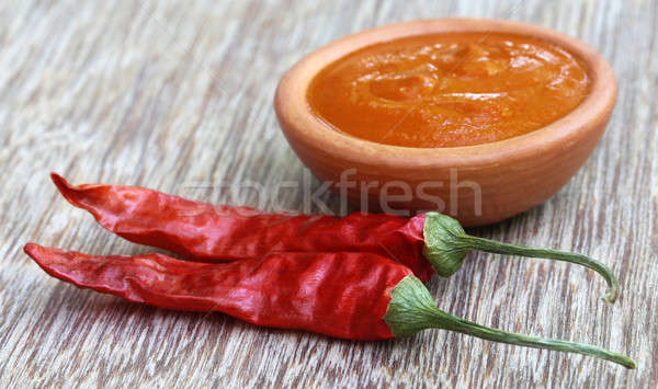 Red hot chilies with ground paste Stock photo © bdspn
