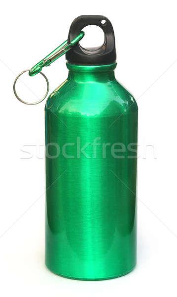Foto stock: Garrafa · de · água · branco · comida · metal · verde · garrafa