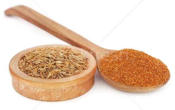 クミン 全体 背景 料理 スプーン シード ストックフォト © bdspn