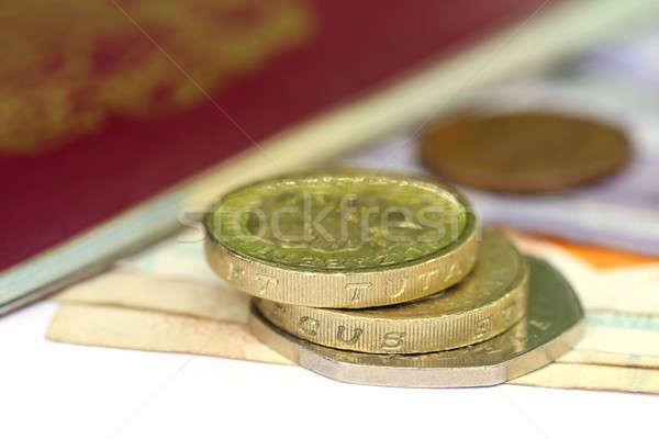 Brits pond bank merkt paspoort geld Stockfoto © bdspn