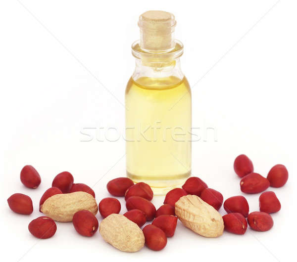 Friss földimogyoró étolaj fehér papír gyümölcs Stock fotó © bdspn