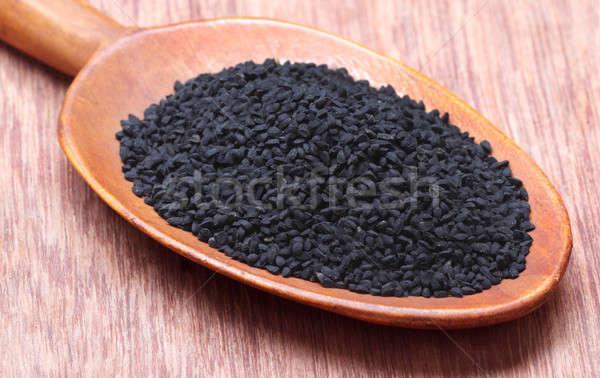 黒 クミン 金属 白 スプーン ストックフォト © bdspn