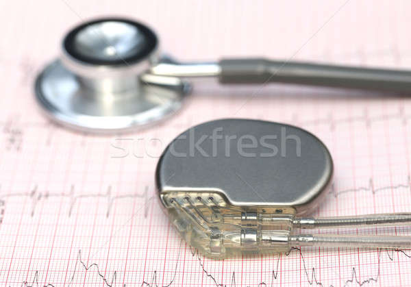 Electrocardiograph with stethoscope and pacemaker Stock photo © bdspn