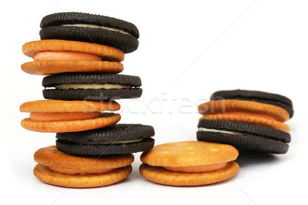 Raddoppiare strato crema cookies bianco alimentare Foto d'archivio © bdspn