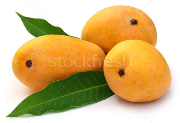 Fresh Mangoes with green leaves Stock photo © bdspn
