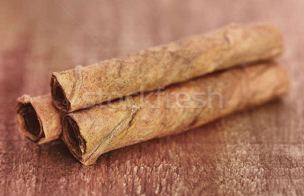 Roulé tabac laisse bois surface feuille Photo stock © bdspn