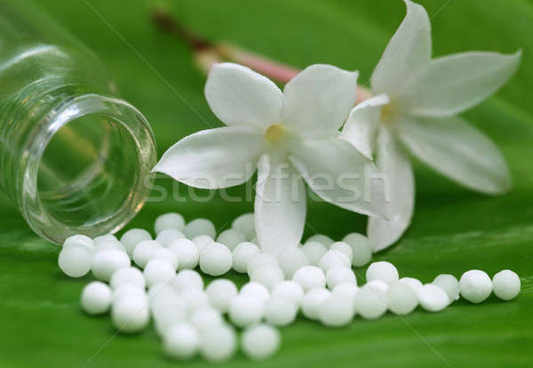 Homéopathie fleur feuille verte nature pilules Photo stock © bdspn