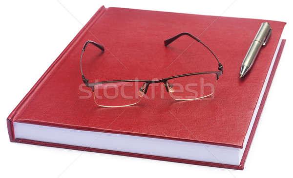 Gesztenyebarna színes papír szemüveg toll iroda Stock fotó © bdspn