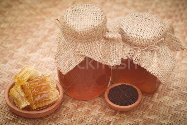 Méz fekete kömény mintázott felület üveg Stock fotó © bdspn