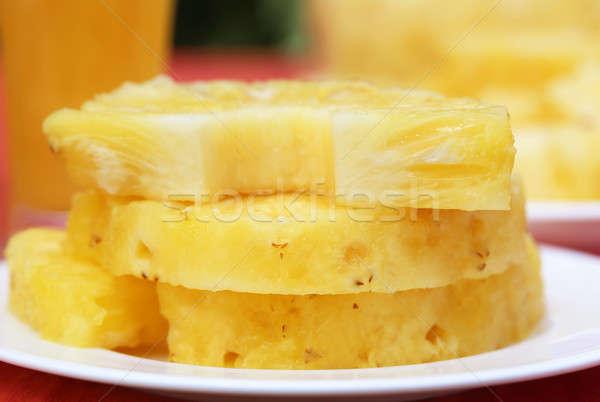 Stockfoto: Ananas · stukken · selectieve · aandacht · groene · tropische · studio