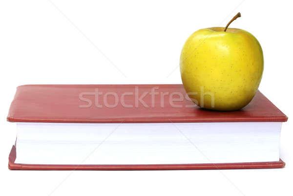 ストックフォト: リンゴ · 図書 · 白 · 教育 · 読む · 戻る