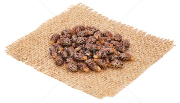 Castor oil with beans on sack Stock photo © bdspn