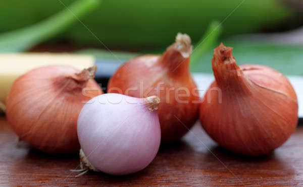 Fresh onions with othe vegetables Stock photo © bdspn