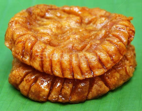 Tradicional feito à mão bolo Bangladesh banana folha Foto stock © bdspn