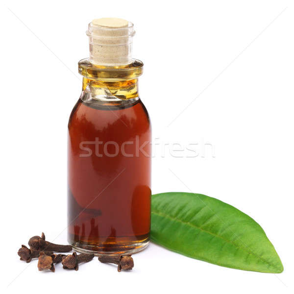 Cloves and leaf with essential oil Stock photo © bdspn