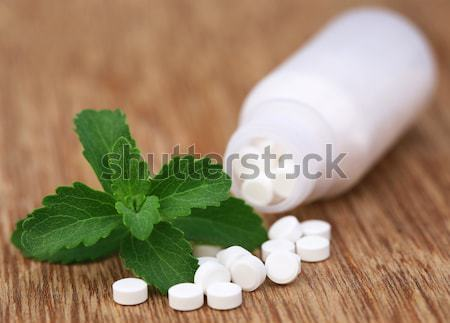 Chewing gum with green stevia Stock photo © bdspn