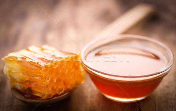 Petek bal cam çanak gıda Stok fotoğraf © bdspn
