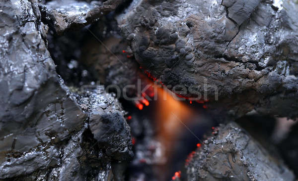 Stock photo: Black bituminous coal with fire