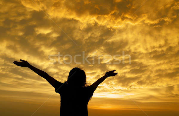 Silhouette of a girl spreading hand toward the clouds Stock photo © bdspn
