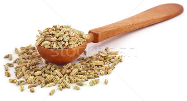 Stock photo: Fennel seeds in a wooden spoon